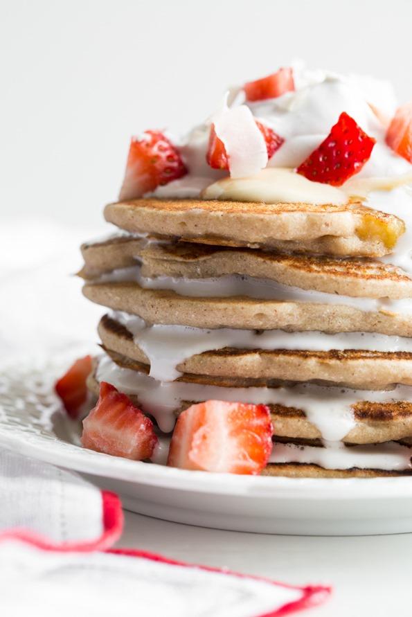 Easy Vegan & Gluten Free Pancakes | ohsheglows.com