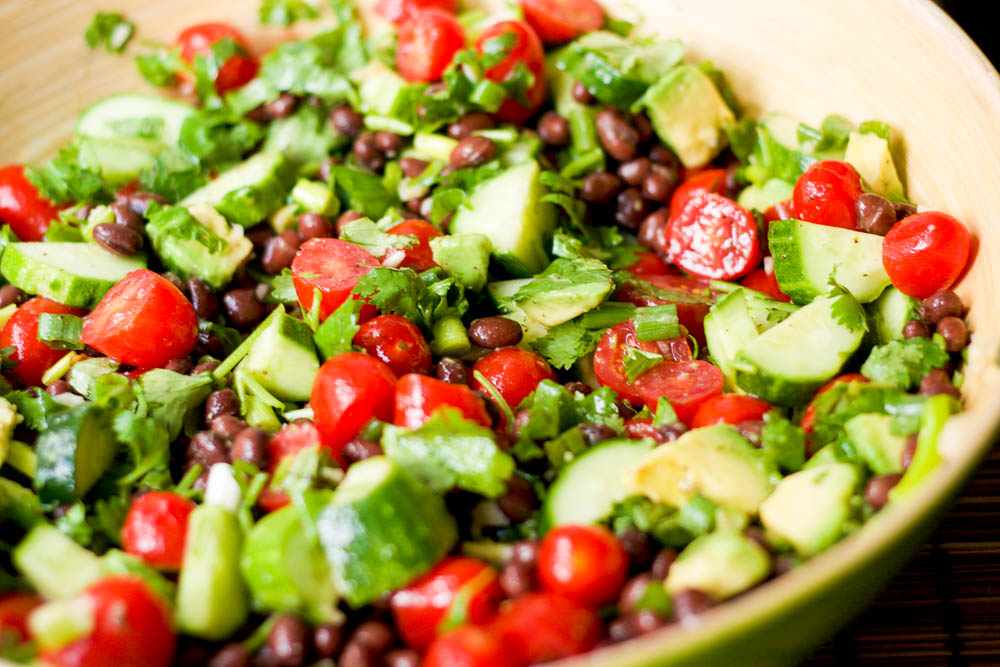 Black Bean Tomato Avocado Salad | HappyGut